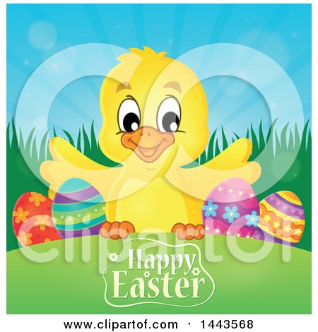 Clipart of a Yellow Chick with Eggs over a Happy Easter Greeting - Royalty Free Vector Illustration by visekart
