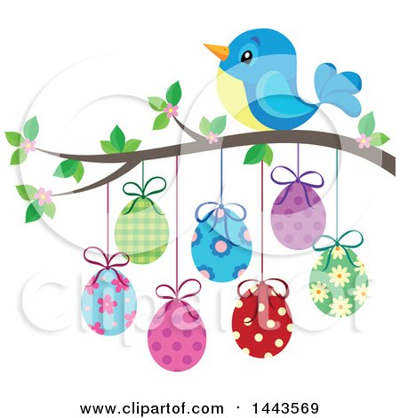 Clipart of a Blue Bird on a Branch with Hanging Easter Eggs - Royalty Free Vector Illustration by visekart