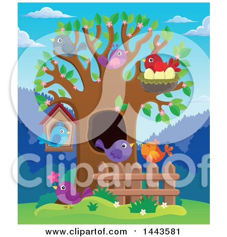 Spring Tree With Birds 1443581