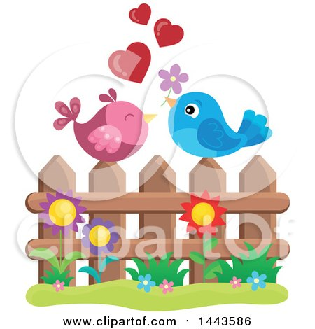Love Bird Valentine Couple with Hearts and a Flower on a Fence Posters, Art Prints