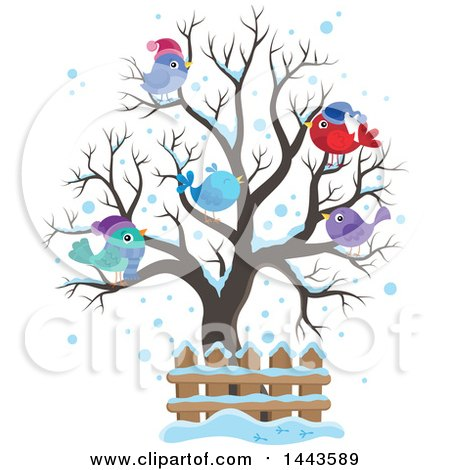 Clipart Of A Bare Winter Tree With Busy Birds Royalty
