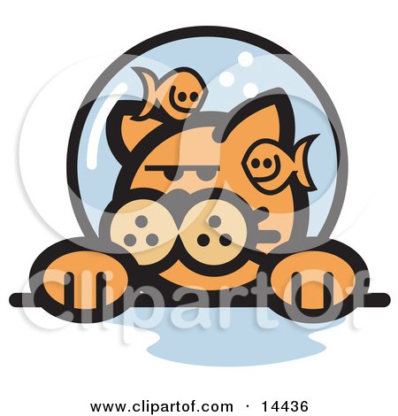 Grumpy Ginger Cat With Fish Making Fun Of Him In A Fishbowl Stuck On His Head Clipart Illustration by Andy Nortnik