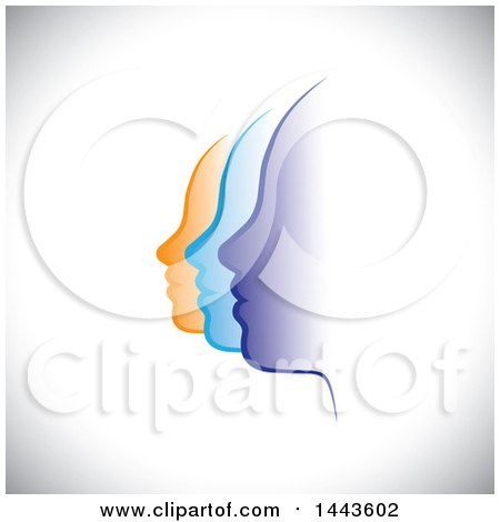 Clipart of a Row of Profiled Purple Blue and Orange Female Faces on Shading - Royalty Free Vector Illustration by ColorMagic