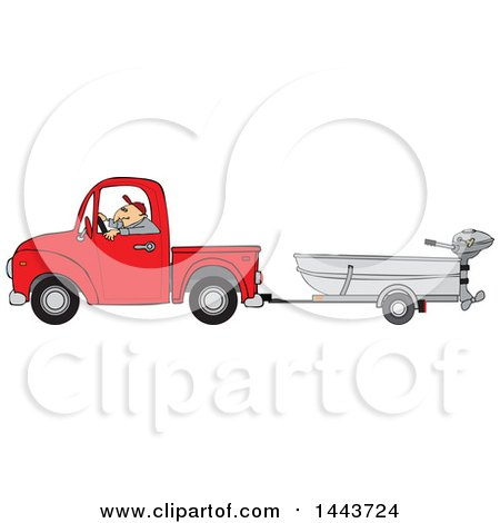 Clipart of a Caucasian Man Driving a Red Pickup Truck and Hauling a Boat - Royalty Free Vector Illustration by djart