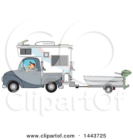 Clipart of a Caucasian Man Driving a Pickup Truck with a Camper and Hauling a Boat - Royalty Free Vector Illustration by djart