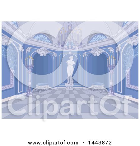 Clipart of a Blue Palace Interior - Royalty Free Vector Illustration by Pushkin