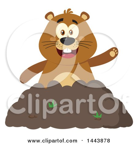 Clipart of a Flat Styled Groundhog Mascot Waving in a Pile of Dirt - Royalty Free Vector Illustration by Hit Toon
