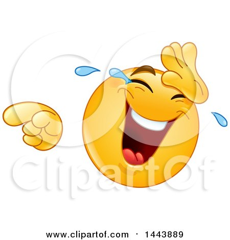 Clipart of a Cartoon Yellow Emoji Smiley Face Emoticon Laughing, Crying and Pointing - Royalty Free Vector Illustration by yayayoyo