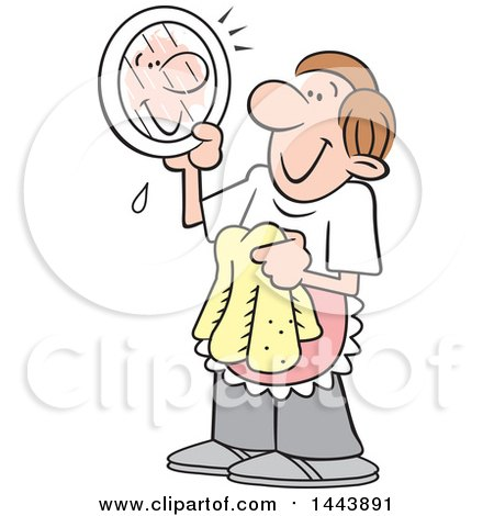 Clipart of a Cartoon Happy Caucasian Stay at Home Dad Drying Dishes and Looking at His Reflection on a Plate - Royalty Free Vector Illustration by Johnny Sajem