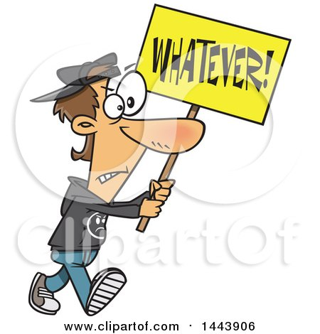 Clipart of a Cartoon White Male Protester Walking with a Whatever Sign - Royalty Free Vector Illustration by toonaday