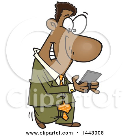 Clipart of a Cartoon Black Business Man Walking and Texting on His Smart Phone - Royalty Free Vector Illustration by toonaday