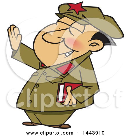 Clipart of a Cartoon Man, Mao Zedong, Holding up an Arm - Royalty Free Vector Illustration by Ron Leishman