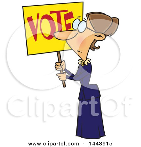 Clipart of a Cartoon Woman, Susan Anthony, Holding up a Vote Sign - Royalty Free Vector Illustration by toonaday