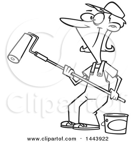 Cartoon Black and White Lineart Happy Woman Painting with a Roller Brush Posters, Art Prints