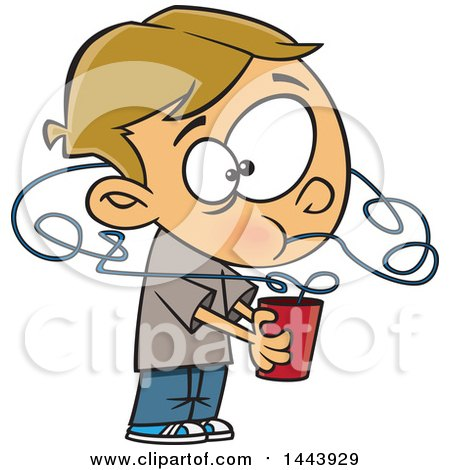 Clipart Of A Cartoon White Boy Drinking A Beverage From A Crazy Straw Royalty Free Vector Illustration