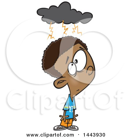 Clipart of a Cartoon Black Boy with a Brainstorm Cloud - Royalty Free Vector Illustration by toonaday