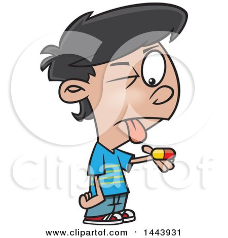 Clipart Of A Cartoon Boy With A Bitter Pill To Swallow Royalty Free Vector Illustration