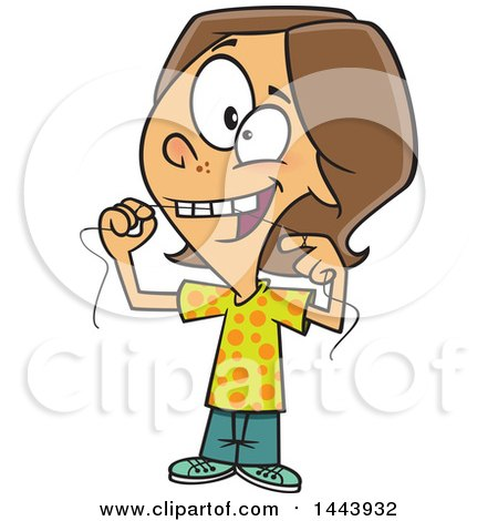 Clipart Of A Cartoon White Kid Flossing Their Teeth Royalty Free Vector Illustration