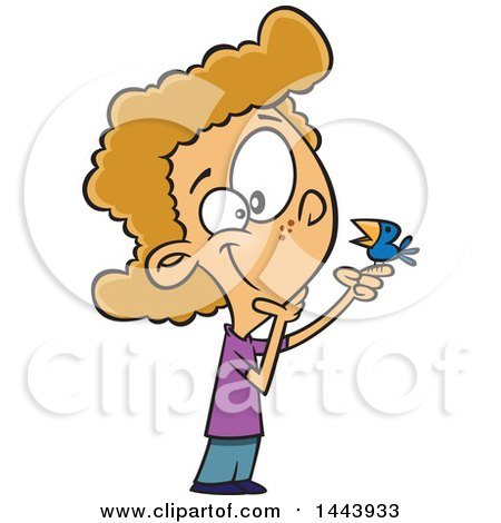 Clipart of a Cartoon White Kid Talking to a Bird - Royalty Free Vector Illustration by toonaday