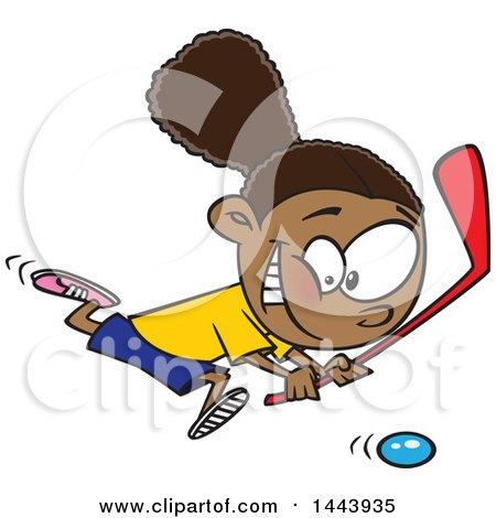 Clipart Of A Cartoon Black Girl Playing Floor Hockey Royalty Free Vector Illustration