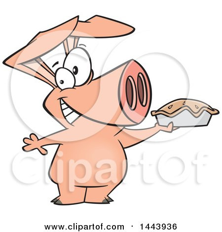 Clipart of a Cartoon Happy Pig Holding up a Pie - Royalty Free Vector Illustration by toonaday