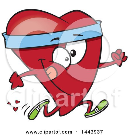 Clipart Of A Cartoon Fit Love Heart Character Running Royalty Free Vector Illustration