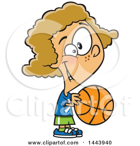 Clipart of a Cartoon Dirty Blond White Girl Playing Basketball - Royalty Free Vector Illustration by toonaday