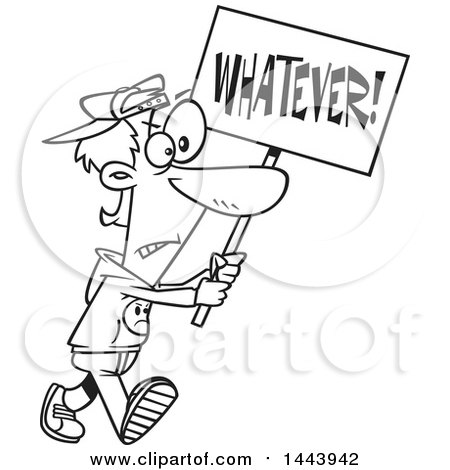 Clipart of a Cartoon Black and White Lineart Male Protester Walking with a Whatever Sign - Royalty Free Vector Illustration by toonaday