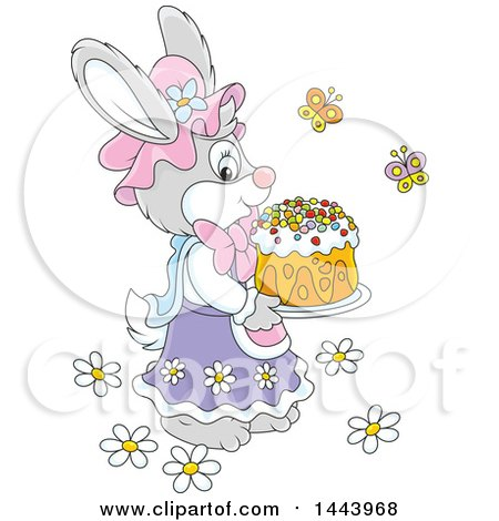 Clipart of a Cartoon Female Bunny Rabbit Carrying an Easter Cake - Royalty Free Vector Illustration by Alex Bannykh