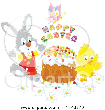 Clipart of a Gray Bunny Rabbit and Chick with a Butterfly, Happy Easter Text and Cake - Royalty Free Vector Illustration by Alex Bannykh