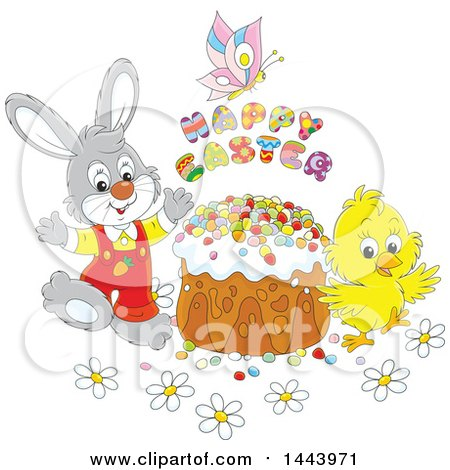 Clipart of a Cartoon Bunny Rabbit and Chick with a Butterfly, Happy Easter Text and Cake - Royalty Free Vector Illustration by Alex Bannykh