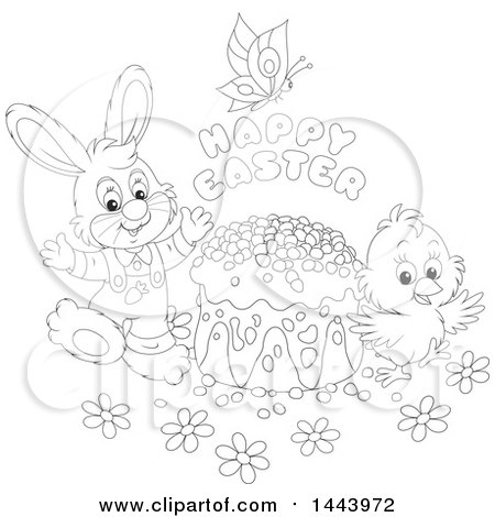 Clipart of a Cartoon Black and White Lineart Bunny Rabbit and Chick with a Butterfly, Happy Easter Text and Cake - Royalty Free Vector Illustration by Alex Bannykh