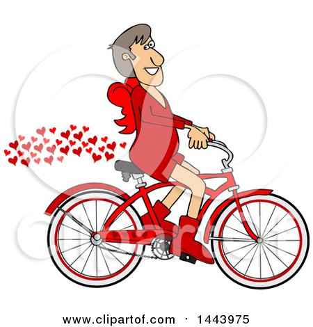 Clipart of a Cartoon Valentines Day Cupid Riding a Bicycle with a Trail of Love Hearts - Royalty Free Vector Illustration by djart