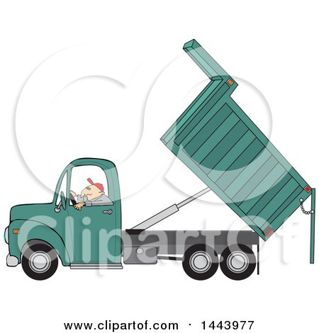 Clipart of a Cartoon Caucasian Man Operating a Hydraulic Dump Truck - Royalty Free Vector Illustration by djart