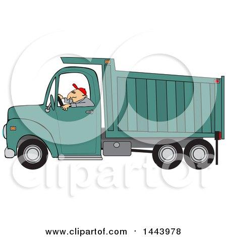 Clipart of a Cartoon Caucasian Man Driving a Dump Truck - Royalty Free Vector Illustration by djart