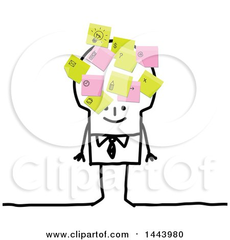 Clipart of a Stick Business Man with Postit Notes All over His Head - Royalty Free Vector Illustration by NL shop