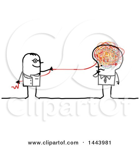Clipart of a Stick Man Doctor Pulling a Doodle String from a Business Man's Brain - Royalty Free Vector Illustration by NL shop