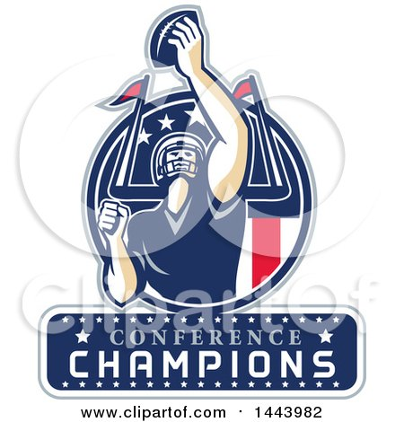 Clipart Of A Retro American Football Player Holding Up Ball With Conference Champions For Super Bowl LI In Red White And Blue Circle