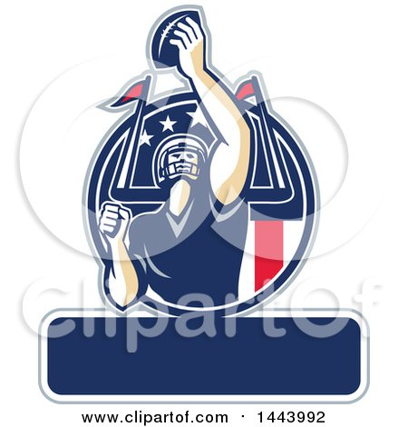 Clipart of a Retro American Football Player Holding up a Ball with Text Space for Super Bowl LI in a Red White and Blue Circle - Royalty Free Vector Illustration by patrimonio