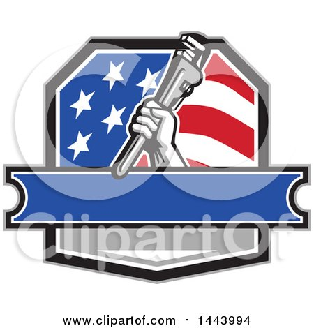 Retro Plumber Hand Holding a Pipe Monkey Wrench in an American Crest, over a Banner with Text Space Posters, Art Prints