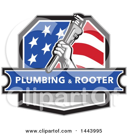 Retro Plumber Hand Holding a Pipe Monkey Wrench in an American Crest, over a Plumbing and Rooter Banner Posters, Art Prints