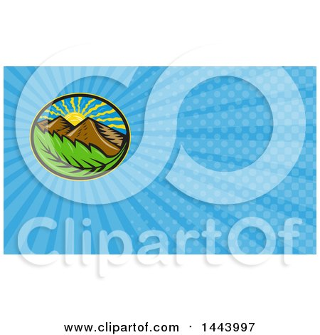 Clipart of a Retro Oval of the Sun Mountains and Leaf and Blue Rays Background or Business Card Design - Royalty Free Illustration by patrimonio