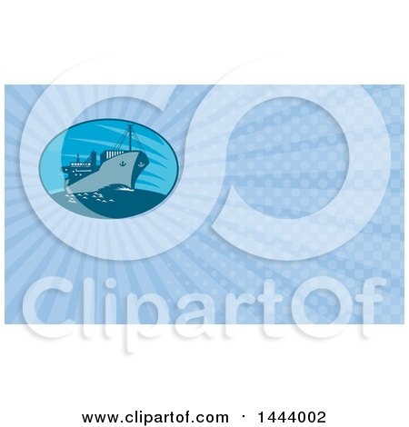 Clipart of a Retro Cargo Ship and Blue Rays Background or Business Card Design - Royalty Free Illustration by patrimonio