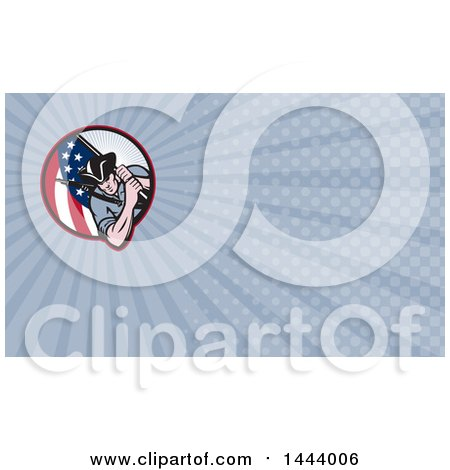Clipart of a Retro Revolutionary Soldier Minute Man with an American Flag and Blue Rays Background or Business Card Design - Royalty Free Illustration by patrimonio