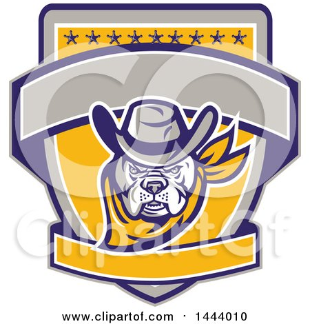 Clipart of a Retro Cowboy Bulldog Sheriff on a Shield with Stars and Blank Banners - Royalty Free Vector Illustration by patrimonio