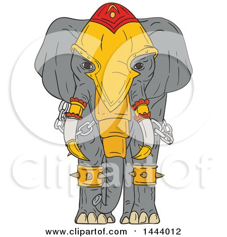 Clipart of a Sketched War Elephant with Armor - Royalty Free Vector Illustration by patrimonio