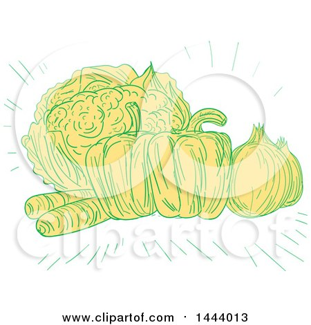 Clipart of a Sketched Still Life of Cauliflower, Bell Peppers, Onions and Carrots - Royalty Free Vector Illustration by patrimonio