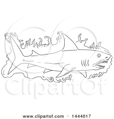 Clipart of a Sketched Black and White Swimming Shark with Water - Royalty Free Vector Illustration by patrimonio