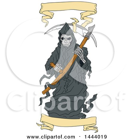 Clipart of a Sketched Grim Reaper Holding a Scythe, with Banners - Royalty Free Vector Illustration by patrimonio