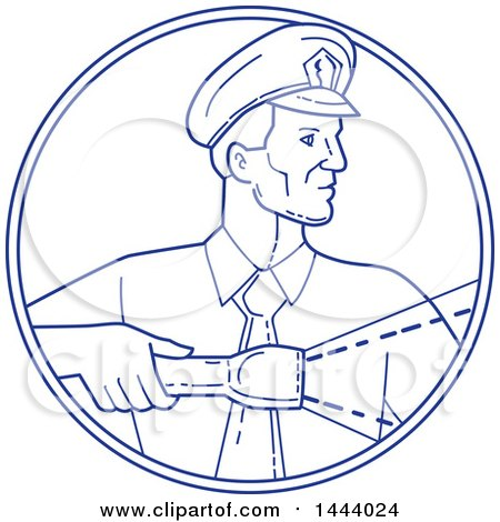 Clipart of a Mono Line Style Police Officer or Security Guard Shining a Flashlight in a Circle - Royalty Free Vector Illustration by patrimonio